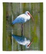White Ibis And Reflection Fleece Blanket