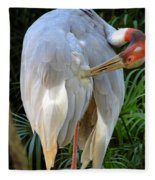 White Ibis At The Zoo Fleece Blanket