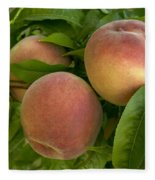 White Lady Peaches On A Branch Fleece Blanket
