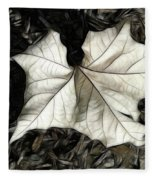 White Leaf On The Ground Fleece Blanket