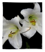 White Lilies Fleece Blanket