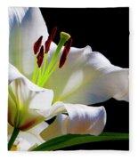 White Lilium Fleece Blanket