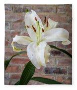 White Lily Portrait Fleece Blanket
