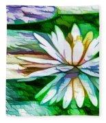 White Lotus In The Pond Fleece Blanket