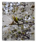White Magnolia Fleece Blanket