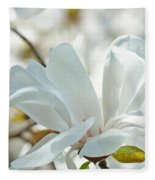 White Magnolia Tree Flower Art Prints Magnolias Baslee Troutman Fleece Blanket
