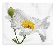 White Matilija Poppy On White Fleece Blanket