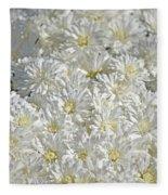 White Mums Fleece Blanket