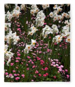 White Narcissus With Pink English Daisies In A Spring Garden Fleece Blanket
