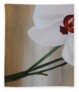 White Orchid Light Background First Section Fleece Blanket