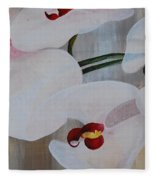 White Orchid Light Background Middle Section Fleece Blanket