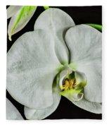 White Orchid On Black Fleece Blanket