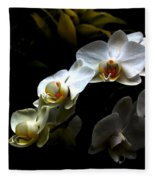White Orchid With Dark Background Fleece Blanket