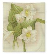 White Orchids   Eucharis Sanderiana Fleece Blanket