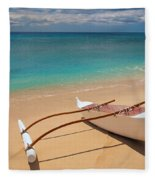 White Outrigger Canoe Fleece Blanket