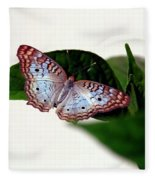 White Peacock Butterfly 2 Fleece Blanket