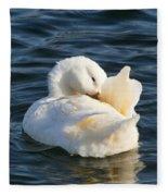White Pekin Duck In Blue Water Preening Fleece Blanket