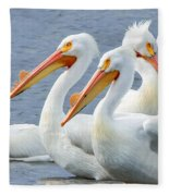 White Pelicans At Nelson Lake Fleece Blanket
