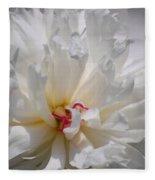 White Peony  Fleece Blanket