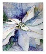 White Poinsettia Fleece Blanket