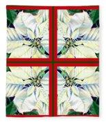 White Poinsettia Quartet Fleece Blanket