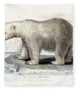 White Polar Bear On Ice Floe Fleece Blanket