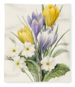 White Primroses And Early Hybrid Crocuses Fleece Blanket