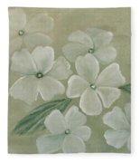 White Primula Fleece Blanket