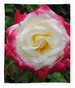 White Red Rose Fleece Blanket