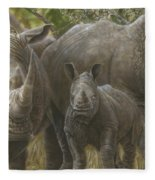 White Rhino Family - The Face That Only A Mother Could Love Fleece Blanket