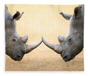 White Rhinoceros  Head To Head Fleece Blanket