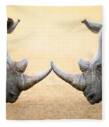 White Rhinoceros  Head To Head Fleece Blanket