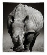 White Rhinoceros  In Due-tone Fleece Blanket