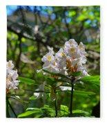 White Rhododendron Blooms Fleece Blanket