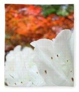 White Rhododendron Flowers Botanical Garden Prints Fleece Blanket