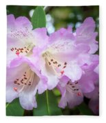 White Rhododendron Flowers With A Purple Fringe Fleece Blanket