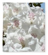 White Rhododendrons Flowers Art Prints Baslee Troutman Fleece Blanket