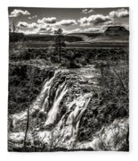 White River Falls Black  And White Fleece Blanket