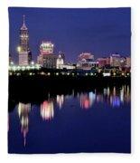 White River Reflects Indy Skyline Fleece Blanket