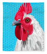 White Rooster With Blue Background Fleece Blanket