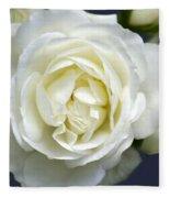 White Rose Bloom Fleece Blanket