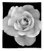 White Rose Flower In Black And White Fleece Blanket