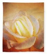 White Rose On Deep Texture Fleece Blanket
