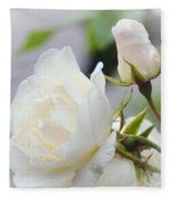 white Roses -2- Fleece Blanket