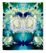 White Roses  And Blue Satin Bouquet Fractal Abstract Fleece Blanket