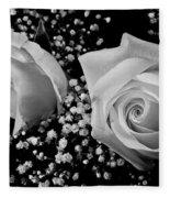 White Roses Bw Fine Art Photography Print Fleece Blanket