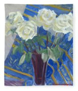 White Roses With Red And Blue Fleece Blanket