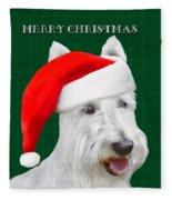 White Scottish Terrier Christmas Plaid Fleece Blanket