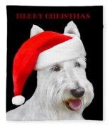 White Scottish Terrier Dog Christmas Card Fleece Blanket