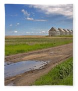 White Sheds On A Prairie Farm In Spring Fleece Blanket